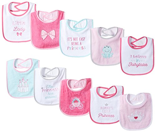 Luvable Friends Unisex Baby Cotton Terry Drooler Bibs with PEVA Back, Princess, One Size