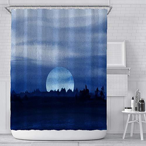 Duschvorhangs Polyester Fabric Nachthimmel Mond Wasserdicht Anti-Schimmel Badewanne Duschvorhang Mit 12 Haken Für Badezimmer Waschbare Badvorhang 180 X 215 cm