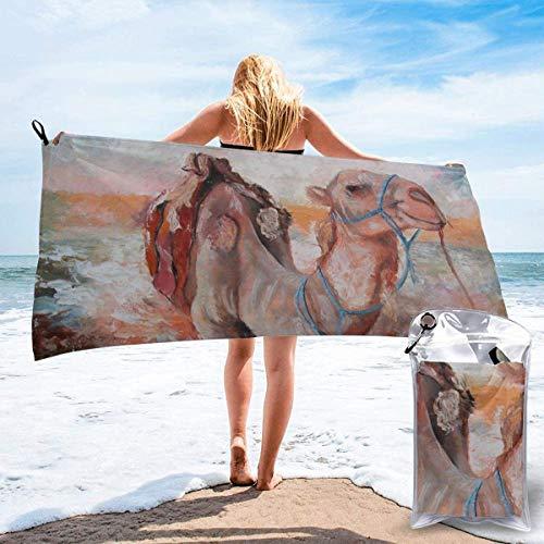 Toalla de Playa 27.5 'X 55',Doves Microfibra de Arena Ultra Suave Portátil Absorbente de Agua Microfibra múltiple Sin Arena Toalla de Playa Manta-Camel Painting2