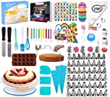 Nifogo Decoración de Pasteles Kit Torta Giratoria Herramienta de Pastelería Platos para Tarta Cake Turntable 51*Boquillas 100*Manga Pastelera Ideal para Cualquier aficionado a la repostería (290PCS)