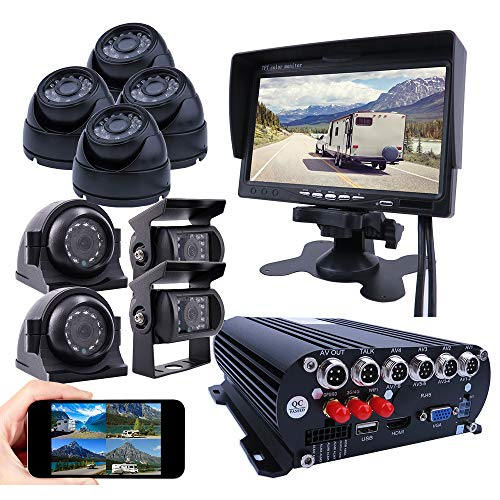JOINLGO 8 Channel Mobile DVR Backup Camera System Remote Monitor on PC Phone GPS WiFi 4G 1080N AHD Vehicle Car DVR MDVR Video Recorder with 8 2.0MP Dome Side Rear View Car Cameras for Truck/RV/Bus