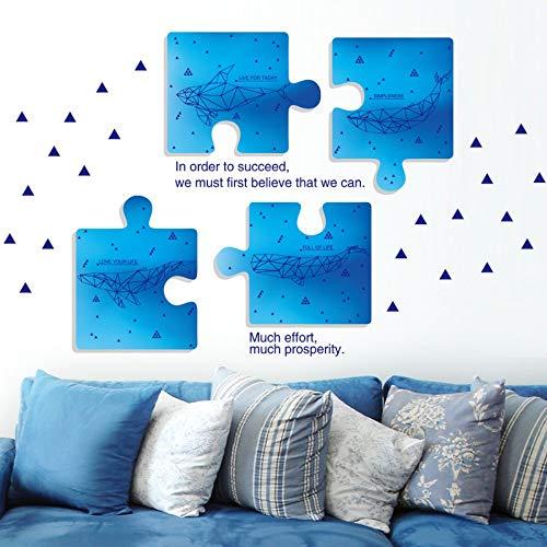 Creatieve Geometrie Walvis Blauw Eenvoudige Moderne Wind Puzzel Photo Frame 3D Visuele Effecten Muurstickers Woonkamer Slaapkamer Slaapbank Kamer Achtergrond Decoratie