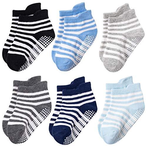 Dwevkeful 6 Paar Kinder Baby Socken Anti Rutsch aus Baumwolle Warme Atmungsaktiv Weich Bunte Farbe Bootssocken Schlafsocken Kuschelsocken Thermosocken Geschenk