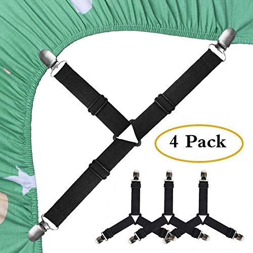 SEEOOR Bed Sheet Holder Straps, Triangle Elastic Mattress Corner Clips, 3 Way Fitted Bed Sheet Fastener Suspenders Grippers Heavy Duty for Bedding Sheets, Mattress Covers, Sofa Cushion (4 Pcs)