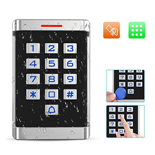 Waterdicht RFID-toegangscontrolesysteem Elektronisch deurslot met 10 RFID-kaarten, grote toetsenborden, 2000 gebruikers, Wiegand 26-bit metalen toegangssysteem Deuropener voor thuiskantoor (waterdicht)