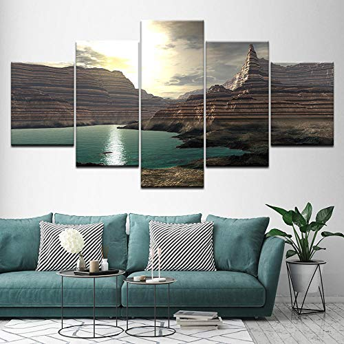 QianLei canvas schilderij zee New York landschap 5 stuks muurkunst schilderij modulaire behang -20x35 20x45 20x55cm geen lijst