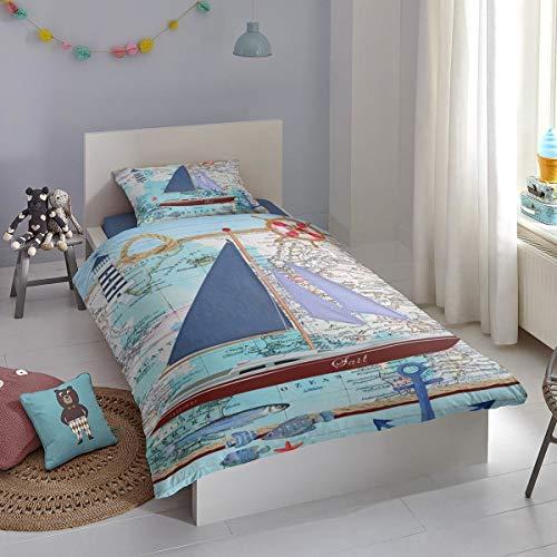 Good Morning! Bettwäsche Aaron blau 1 Bettbezug 135x200 cm + 1 Kissenbezug 80x80 cm