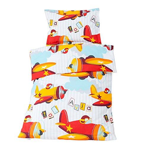 SoulBedroom Baby Aviator Linge de lit pour bébé (Housse de Couette 100x140 cm et Taie d'oreiller - 100% Coton) (Euro)