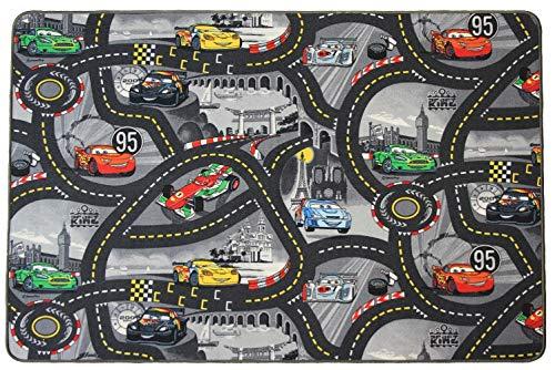 Spielteppich mit Straßen in Grau - Disney Cars, 95x200 cm, Pflegeleicht, Fußbodenheizung Geeignet, Spielmatte, Auto-Kinderteppich für Mädchen & Jungen
