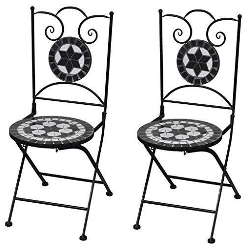 Cikonielf 2 sillas plegables con decoración de mosaico, sillas de restaurante, sillas de exterior para balcón, terraza o jardín, 37 x 44 x 89 cm, negro + blanco