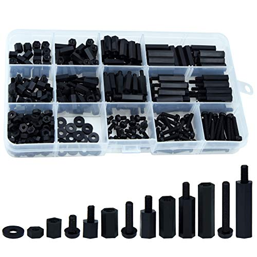Lystaii 320pcs M3 Nylon Hex Spacer Standoff Kit Male Female Screw Nut Threaded Pillar Hex Standoff PCB Motherboard Circuit Board Standoffs Mounting Hardware Spacer Assortment Kit (Black)