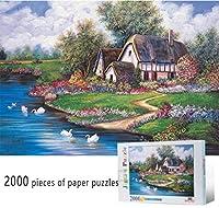 クラシックパズルゲーム 2000ピースペーパージグソーパズル大人 - ドリームヴィラ春の風景ビュー-puzzlesゲーム教育玩具オイルプリントホームデコレーション 頑丈で簡単