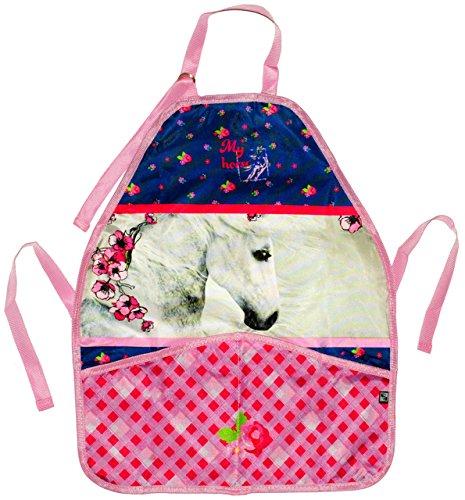 alles-meine.de GmbH Kinderschürze -  Pferd / Romantic Horse  - größenverstellbar mit 2 Taschen - Schürze / beschichtet - für Mädchen & Jungen - Kinder - Backschürze / Bastelsch..