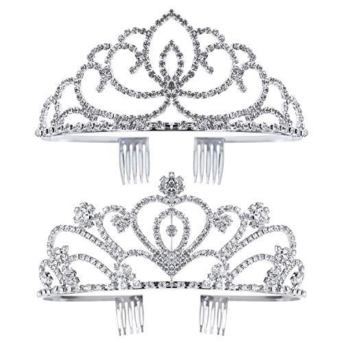 Exacoo Pack of 2 Rhinestone Tiara Crown Exquisite Headband Comb Pin Wedding Bridal Birthday Tiaras