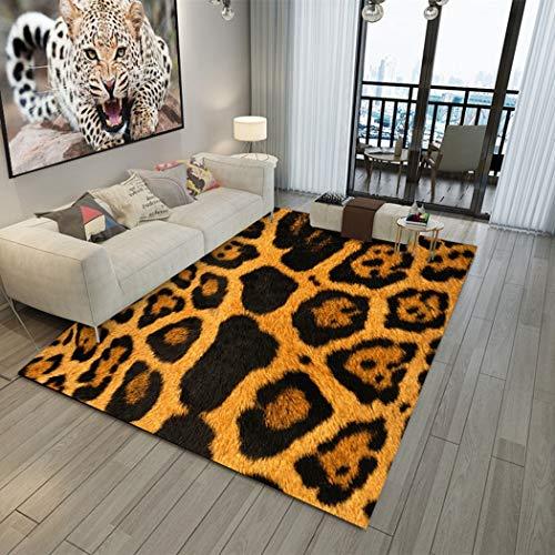 DAMENGXIANG Estampado De Leopardo De Impresión Alfombra Sala De Estar Dormitorio Antideslizante Estera del Piso Decoración para El Hogar De Foot Pad 80×120Cm