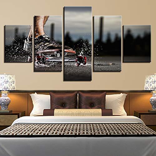 Kunstdruk op canvas, abstracte afbeelding, huisdecoratie, 5 planken, skateboarding, HD-druk, voor woonkamer L-30x40 30x60 30x80cm Frameloos.