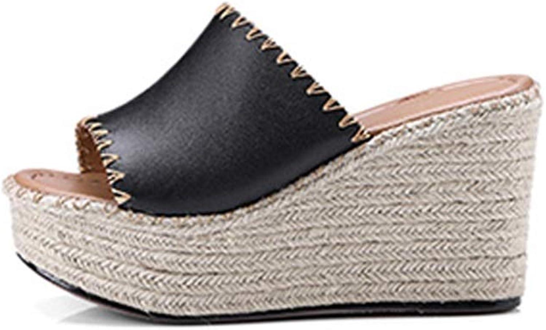 Weibliche sommer tragen sandalen mode leder dicken boden damen super high heel wasserdichte plattform stroh hausschuhe urlaub komfort im freien wasserdichte plattform mit hhe 9,5 cm Sommersandalen un