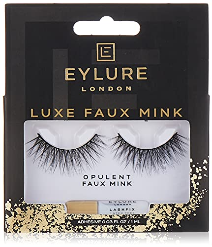 Eylure Faux Mink Eye Lashes, Reusable, Adhesive Included, Opulent, 1 Pair