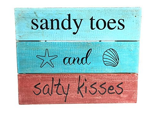 Norma Lily Sandy Toes and Salty Kisses Schild auf Holz Schild 30,5x 24,1cm