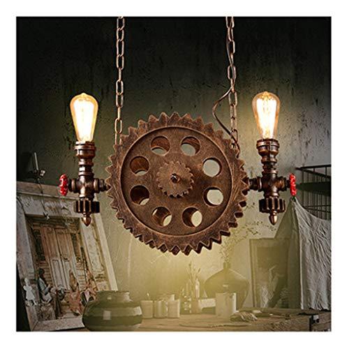 LJF Lampe . Lámpara de araña creativa vintage loft industrial de hierro con viento y barra, para salón, dormitorio, estudio, hotel, cafetería, lámpara colgante de doble cabeza