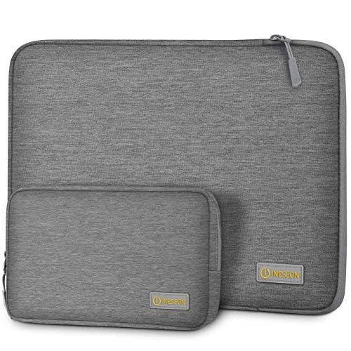 I INESEON Laptop Tasche Hülle für 14 Zoll HP Lenovo Acer Dell Chromebook Notebook, 2016-2019 MacBook Pro 15, 15'' Surface Laptop 3 Notebooktasche Sleeve mit Zubehörtasche, Grau