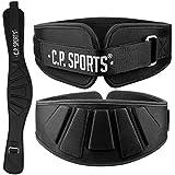 C.P. Sports - Cinturón profesional ultraligero, color negro y rosa, para hombre y mujer, cinturón de entrenamiento para levantamiento de pesas, culturismo, entrenamiento de fuerza (77-85 cm)