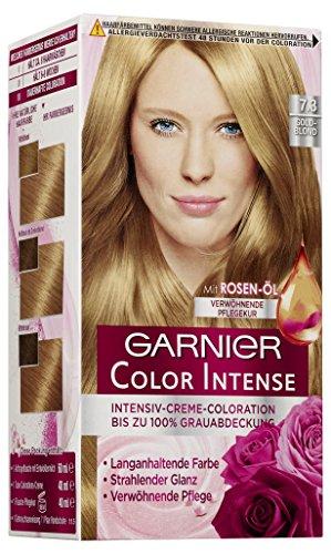 Garnier Color Intense, 7.3 Goldblond / Dauerhafte Intensive Creme Coloration für permanente Haarfarbe (mit Perlmutt und Traubenkernöl) 3 x 1 Stück