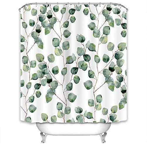 X-Labor Duschvorhang Wasserabweisend Anti-Schimmel inkl. 12 Duschvorhangringe Badewannevorhang für Badezimmer Shower Curtain Blatt-C 180x200cm
