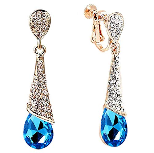 Clip on Ohrringe Baumeln Drop Strass Damen Vergoldet Blau Kristal Tr?ne Bridal Not Durchbohrt