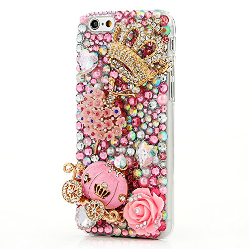 iPhone 6 Case (4.7 Inch) - Mavis's Diary Luxury Handmade Bling Crystal Rhinestone Pumpkin Car, Golden Crown, Pink Flower, Dancing Girl with Love Heart Cinderella Fairy Tale Back Case with Clean Cloth