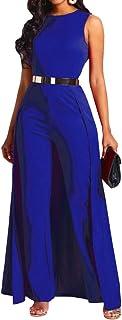 VERWIN Patchwork Overlay Embellished Plain Women's Jumpsuit High-Waist Woman Romper
