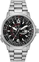 Citizen Eco-Drive Promaster Nighthawk Quartz Mens Watch, Stainless Steel, Pilot watch, Silver-Tone (Model: BJ7000-52E)