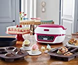 Tefal Cake Factory KD801840 Precision Baking Machine with Silicone Moulds for Chocolate Molten Cakes, Cupcakes, Desserts and Use as A Bread Maker, White/Pink