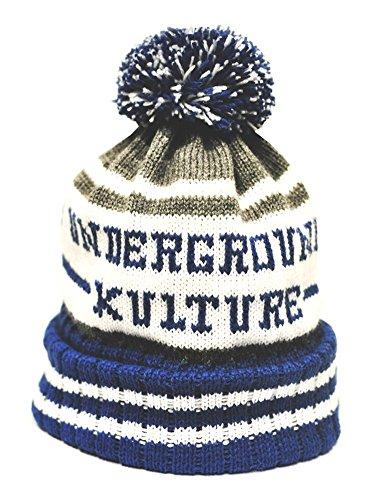 Underground Kulture Bleu Collège Bonnet Chapeaux (College Beanie Hat Blue)