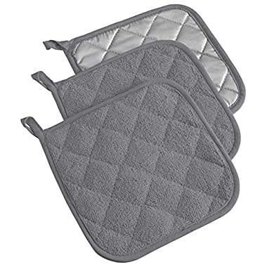 DII Cotton Terry Pot Holders, 7x7 Set of 3, Heat Resistant and Machine Washable Hot Pads for Kitchen Cooking and Baking-Gray