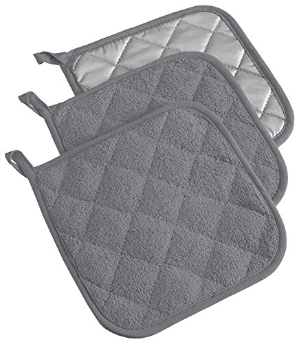 DII 100% Cotton, Terry Pot Holder Set Machine Washable, Heat Resistant, 7 x 7, Gray, 3 Piece