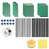Sun3 - Juego de placas perforadas para impresora (53 piezas, 4 tamaños, doble cara, listón de enchufe y hembra, estaño de soldadura, grasa para DIY, Arduino, Raspberry Pi