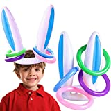 1 lot de jouets gonflables en forme d'oreilles de lapin pour enfants comprenant 1 paire d'oreilles de lapin + 4 anneaux de lancement Idéal pour les jeux de fête de Pâques, intérieur et extérieur