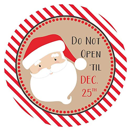 Santa Do Not Open Til December 25 Christmas Stickers for Holidays - Gift Wrapping Labels - Set of 30