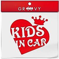 赤ちゃん 子供 乗ってます ステッカー kids in car ハート 王冠 キッズ イン カー 横乗り かわいい おしゃれ 車 ブランド アウトドア シール おもしろ_1195 (レッド)