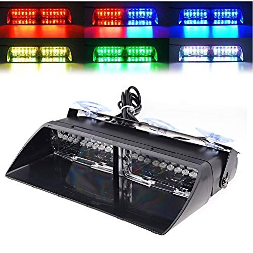 LED Emergency Strobe Lights Bar DIBMS 16 LED Car Truck Warning Flashing Hazard Light Windshield Light For Interior Roof Dash Windshield With Suction Cups RGB