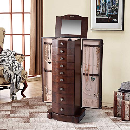 "WATERJOY Jewelry Chests, Jewelry Makeup Armoire Cabinet, Large Standing 40"" Height Wooden Mirrored Jewellery Storage Box Organizer with 8 Drawers Side Swing Doors & Flip up Mirror for Rings, Earrings"