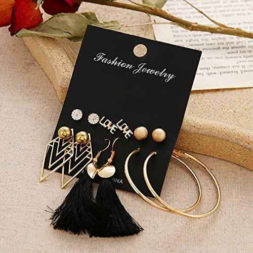 FEARRIN Earrings Bulk Women's Earrings Pearl Earrings for Women Bohemian Jewelry Geometric Crystal Heart Stud Earrings H81-E809