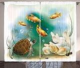 YZDAJIBA® Cortinas opacas de impresión 3D HD Cortinas de tortuga, vida marina acuario animales tropicales peces de colores y conchas 140*160 CM Cortinas con impresión fotográfica, tratamiento de venta