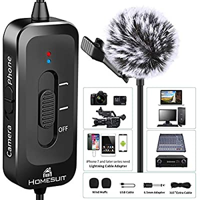 Homesuit Professional Lavalier Microphone, Clip-on Lapel on 3.5mm Omnidirectional Condenser Mic with Noise Reduction Perfectly for Podcast, Recording Youtube, DSLR/Camera/PC/iPhone/Android Interview