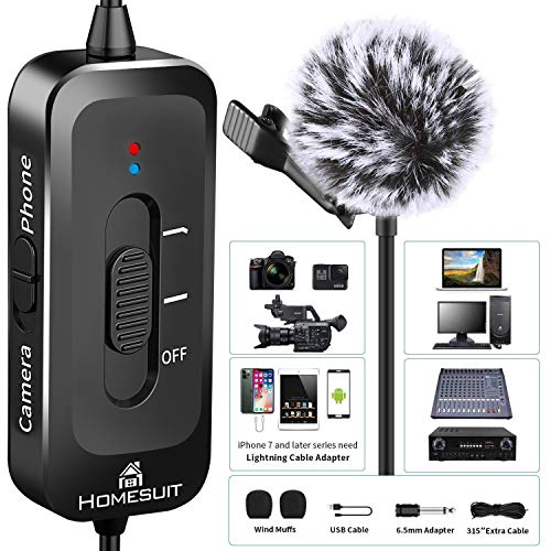 Homesuit Lavalier Mikrofon,Omnidirektionales Kondensator-Mikrofon 3,5mm-6.3mm Ansteckmikrofon mit Rauschunterdrückung Perfekt für Podcasts,Youtube-Aufnahmen,DSLR/Kamera/PC/iPhone/Android-Interview