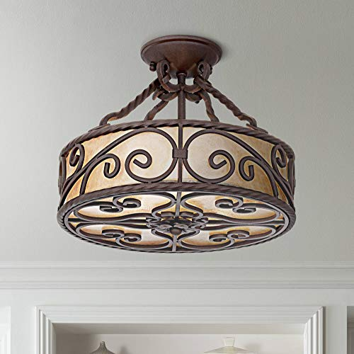 "Natural Mica Collection Rustic Ceiling Light Semi Flush Mount Fixture Deep Walnut Scroll 15"" Wide Drum Shade for Bedroom Kitchen Living Room Hallway Bathroom - John Timberland"