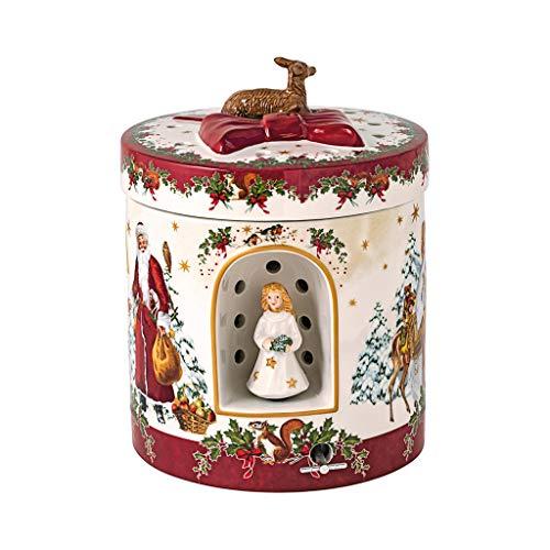 Villeroy & Boch - Christmas Toys Windlicht 'Christkind' groß rund, dekoratives Geschenkpaket aus Hartporzellan, für Teelichter geeignet, integrierte Spieluhr,...