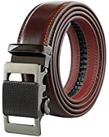 Mens Genuine Leather Belt – No Holes Style Designer Dress Belt - V494-WINE
