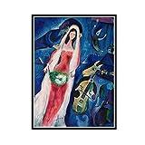 ADNHWAN Cuadros modulares Marc Chagall Lienzo Arte de la Pared Surrealismo Pintura Impreso Cartel de la Novia Decoración del hogar Sala de Estar -50x70cm Sin Marco 1 PCS